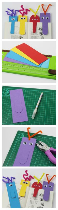 These bookmarks are simple to make with children of all ages. A great book craft to do with kids Big nose Monster Bookmarks. These bookmarks are simple to make with children of all ages. A great book craft to do with kids Book Crafts, Crafts To Do, Craft Projects, Crafts For Kids, Paper Crafts, Craft Ideas, Monster Bookmark, Origami, Diy Bookmarks