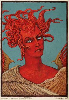 """Lucifer"", por Alberto Martini. Ilustración para La Divina Comedia, Canto XXIX, 1943-44. http://iglesiadesatan.com/"