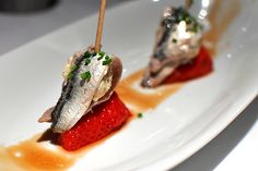 Spears of anchovies and strawberries    Restaurante Arzak - San Sebastian, Spain.
