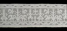 A8960 Lace border or frieze, drawn work lace, punto tirato, linen, Southern Europe, early 1600s - Powerhouse Museum Collection