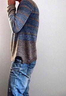 Seashore by Isabell Kraemer $ pattern - beautiful grey and sky blue striped raglan sweater (hva)