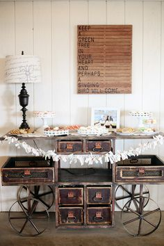 Sweet table for a vintage inspired wedding