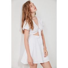 SIR the label Elsa Tie-Front Linen Dress ($180) ❤ liked on Polyvore featuring dresses, v neck summer dresses, short flare dress, short sleeve dress, cut-out dresses and cutout dresses