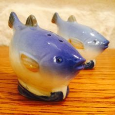 Vintage Blue Puffer Fish Salt and Pepper Shakers made in Occupied Japan