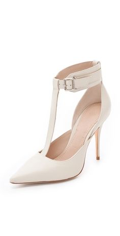 Elizabeth & James saucy white ankle cuff pumps with T-straps $325, get it here:  http://rstyle.me/~5ukf