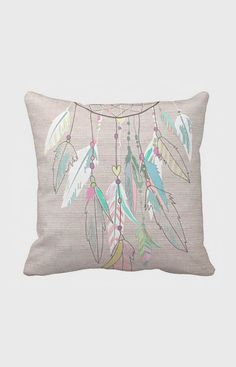 Pillow Cover Pastel Feather Dreamcatcher Cotton