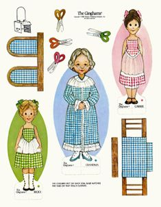 Ginghams Paper Dolls - The Ginghams Visit Grandma Paper Doll Book - All scanned paper dolls on this site are out-of-print, and in the personal collection of Teri Pettit