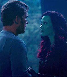 Gamora x Peter Quill Star Lord Marvel Films, Marvel Memes, Marvel Characters, Marvel Avengers, Hawkeye, Marvel Universe, Black Widow, Starlord And Gamora, Hulk