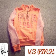 VS PINK Pull Over Sweatshirt VS PINK Orange Pull Over Sweatshirt. Top has lighter orange sleeves & zips @ neck. In excellent condition PINK Victoria's Secret Tops Sweatshirts & Hoodies