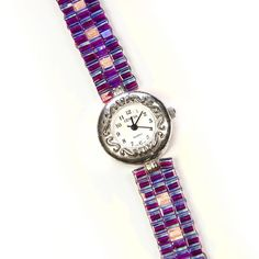 In my Etsy store: watch with hand woven bead watch band