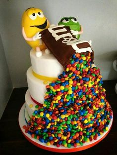 Found your next birthday cake! I'm so doing this! M &M's of course the inside of cake has to be chocolate - http://teacakecafe.net/