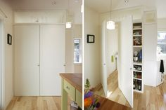 Custom built-in kitchen cabinetry hides a small bathroom  Best Small Home – Fine Homebuilding's 2014 HOUSES Awards - http://www.finehomebuilding.com/houseawards/2014/best-small-home
