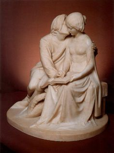 Paolo and Francesca 1852 By : Alexander Munro 1825-1871 English artist Marble.. 67.5 x 66 cm Private collection