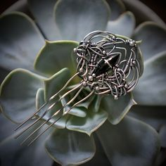 unique, haircomb, hairpin, hairfork, hair accessory, silver, wire wrapping, iza malczyk