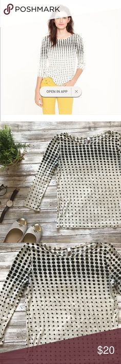 JCrew optic dot boat neck tee Black dots on cream color shirt. 3/4 sleeve. J. Crew Tops