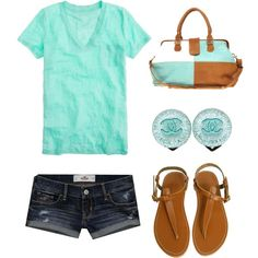 """Aqua, Tan, Denim and Chanel :)"" by clojogar on Polyvore"