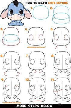 How to Draw a Cute Chibi / Kawaii Eeyore Easy Step by Step Drawing Tutorial for . - How to Draw a Cute Chibi / Kawaii Eeyore Easy Step by Step Drawing Tutorial for Kids & Beginners - Easy Pencil Drawings, Cute Easy Drawings, Doodle Drawings, Easy Disney Drawings, Simple Tumblr Drawings, Cartoon Drawings Of Animals, Cute Kawaii Drawings, Simple Doodles, Cute Doodles
