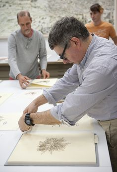 "Artist Mark Dion (center) working with studio manager Tom Pruitt (left) and Production Assistant Jonothan Vaughan (right).    Mark is stamping prints in his new portfolio ""Herbarium"" which has been published by Graphicstudio.     ...(Experience the best #Art shows in     NYC with https://www.artexperiencenyc.com"