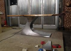 Modern Wood and Steel table. #industrial Dun4Me is the marketplace for custom made items built to your exact specifications by talented makers. Get bids for free, no obligation!