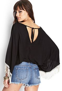 Crochet-Trimmed Cropped Poncho | FOREVER 21 - 2055880176