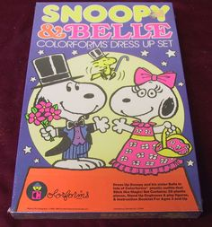 PEANUTS COLORFORMS SNOOPY BELLE DRESS UP SET NOS MIB NEW OLD STOCK SEALED CLEAN