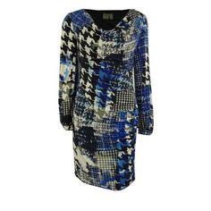 Muse Women's Cowl Neck Printed Houndstooth Jersey Dress - Walmart.com
