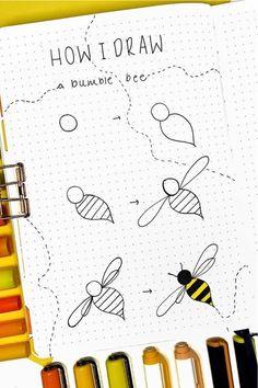 Bullet Journal Paper, Bullet Journal Lettering Ideas, Bullet Journal Notebook, Bullet Journal Ideas Pages, Bullet Journal Inspiration, Notebook Doodles, Cute Easy Drawings, Bee Drawing Easy, Easy Doodle Art