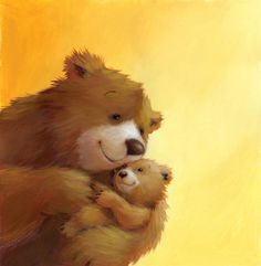 BEAR AND CUB HUG - Polona Lovsin - professional children's illustrator, view portfolio Tatty Teddy, Art And Illustration, Bear Pictures, Cute Pictures, Dibujos Cute, Love Bear, Big Bear, Bear Art, Cute Bears