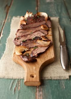 Roasted Flank Steak w/ Mushrooms & Thyme