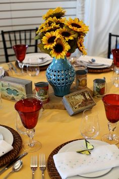 Yellow, Teal and Red Summertime Table  www.encoreeventsrentals.com