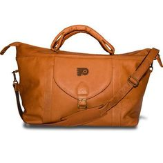 "Pangea Brands NHL 25"" Leather Top Zip Travel Duffel Color: Tan, NHL Team: Philadelphia Flyers"