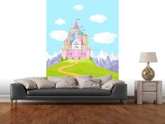 Fairytale Castle Landscape wall mural room setting