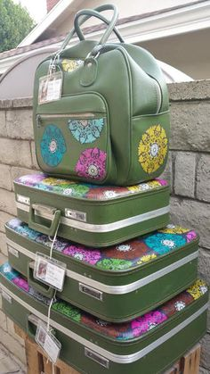 Revamped 1970s 4 Piece luggage set with satchel, made in Japan for Montgomery Wards-Pinwheel Mandalas - http://oleantravel.com/revamped-1970s-4-piece-luggage-set-with-satchel-made-in-japan-for-montgomery-wards-pinwheel-mandalas