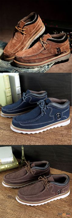 US$59.12+Free shipping. Men Boots,  Hand Stitching, High Top Suede Oxfords, Comfortable. Color: Light Brown, Blue, Dark Brown. Shop now~