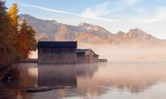 Morning at Kochel lake in Alps moutains.