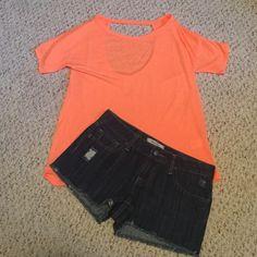 Orange cotton tee Orange cotton tee with a open back. Hardly worn Tops