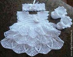"Sweet Crocheted Baby Dress ""Afbeeldingsresultaat voor free crochet patterns for baby bolero"", ""Vestido para as migalhas - Plate. Crochet Baby Dress Pattern, Baby Dress Patterns, Baby Girl Crochet, Crochet Baby Clothes, Baby Knitting Patterns, Crochet For Kids, Crochet Patterns, Booties Crochet, Knit Crochet"