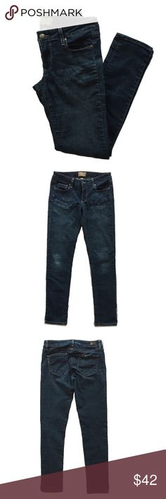 """Paige Peg Skinny Blue Ankle Peg Jeans Size 27 Gently used condition. Slight imperfection - """"puckering"""" across hips - however not visible when wearing.   * 29"""" inseam; Waist @ 28"""", Hips @30""""  * Zip fly with button closure. * Five-pocket style. * 98% cotton, 2% elastane. * By Paige Denim; made in the USA of imported fabric.  Retail $189   ⭐️Suggested User 📫Same or Next Day Shipping 💯Top Rated Seller  🎁 Bundle Discount Buy 3 or more Get 25% Off 🙅🏽No Trades Paige Jeans Jeans Ankle & Cropped"""