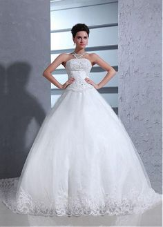 Stunning Satin&Tulle Ball gown Strapless Neckline Dropped Waistline Wedding Dress