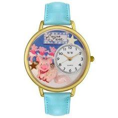 Whimsical Unisex Swine Lake Baby Blue Leather Watch