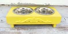 Elevated Dog Feeder Lemon Yellow