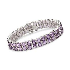 Our lovely line bracelet presents two-rows of amethyst rounds totaling 20.75 ct. in a sparkling double-deck delight! >>Click on the Amethyst Bracelet for more styles from Ross-Simons.