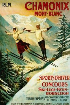 We're going to be here in a few weeks!!!  $12.95  COUPLE JUMPING SKI WINTER SPORT CHAMONIX MONT BLANC FRENCH LARGE VINTAGE POSTER REPRO: Amazon.com: Home & Kitchen