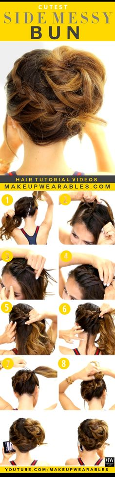 Best Hair Braiding Tutorials - Siden Messy Bun - Easy Step by Step Tutorials for Braids - How To Braid Fishtail, French Braids, Flower Crown, Side Braids, Mohawk Hairstyles, Braided Hairstyles Tutorials, Pretty Hairstyles, Hair Tutorials, Wedding Hairstyles, Spring Hairstyles, Bun Hairstyle, Hairdos, Hairstyle Ideas