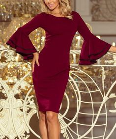 Burgundy Ruffle-Sleeve Bodycon Dress - Women #zulily #zulilyfinds Bodycon Dress With Sleeves, Holiday Party Dresses, Ruffle Sleeve, Ruffles, Burgundy, High Point, Dress Making, Bands, How To Make