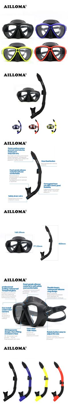 AILLOMA Underwater Equipment Diving Mask Snorkel Set Silicone Full Dry Swimming Snorkeling Anti-Fog Diving Glasses Tube Goggles
