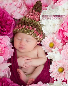 Brown Pink Newborn Gnome Hat | Beautiful Photo Props