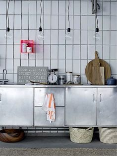 vertical subway tile, handmade, white, ceramic, kitchen backsplash, modern kitchen, farmhouse kitchen, industrial kitchen