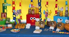 """character boxes and paper chains  Photo 1 of 49: Sesame Street, Elmo / Birthday """"Jackson's Sesame Street Party"""" 