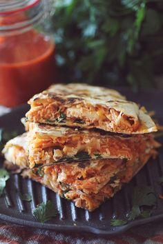 Clean Eating Buffalo Chicken Quesadillas  Crockpot & Grill Prep Included!